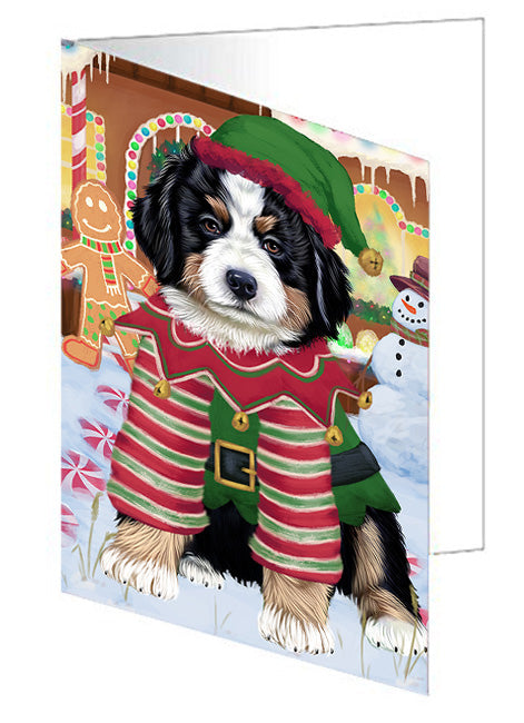 Christmas Gingerbread House Candyfest Bernese Mountain Dog Greeting Card GCD73061
