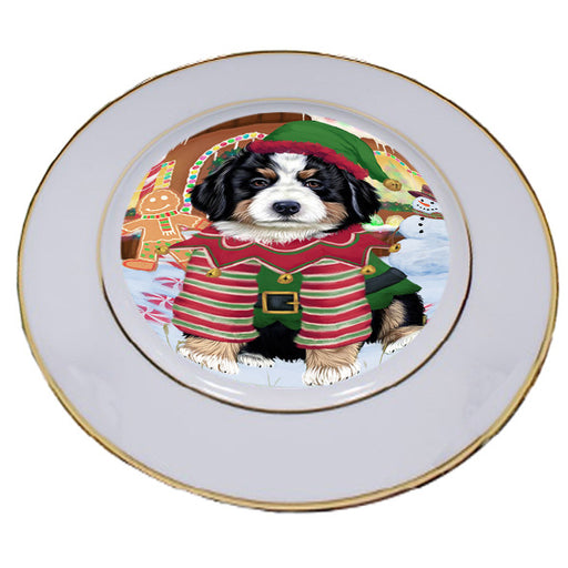 Christmas Gingerbread House Candyfest Bernese Mountain Dog Porcelain Plate PLT54531