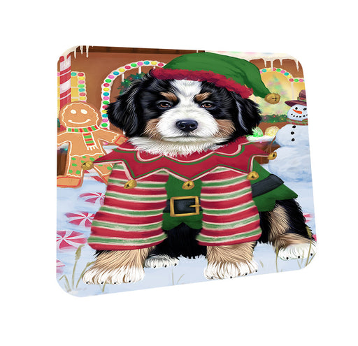Christmas Gingerbread House Candyfest Bernese Mountain Dog Coasters Set of 4 CST56140