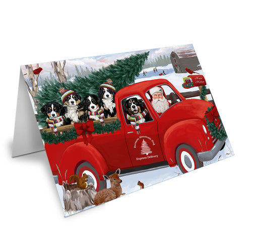 Christmas Santa Express Delivery Bernese Mountain Dogs Family Note Card NCD68864