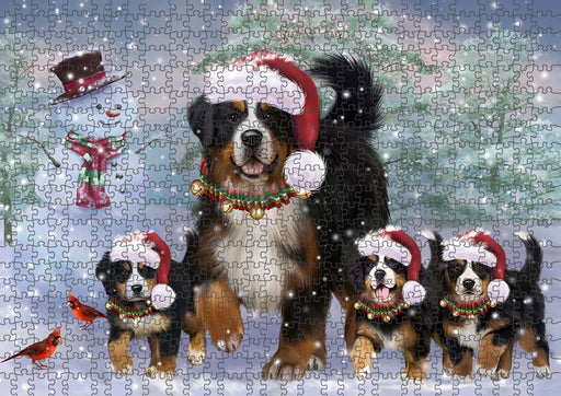 Christmas Running Family Bernese Mountain Dogs Puzzle with Photo Tin PUZL90056