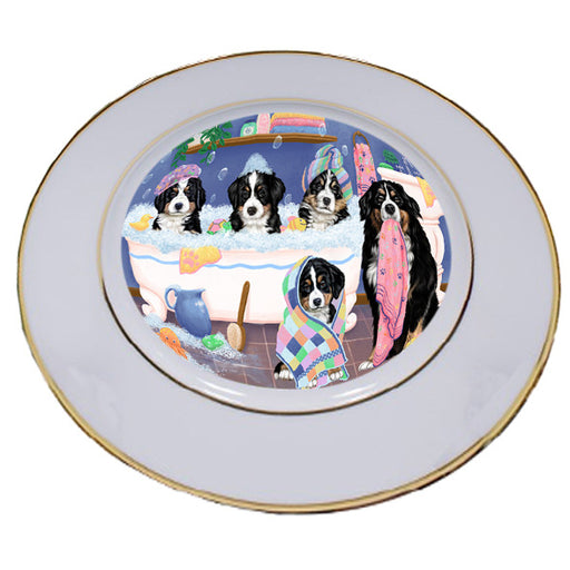 Rub A Dub Dogs In A Tub Bernese Mountain Dogs Porcelain Plate PLT55113