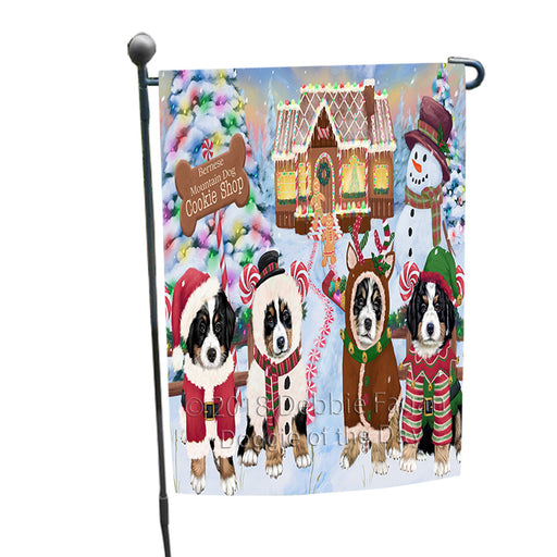 Holiday Gingerbread Cookie Shop Bernese Mountain Dogs Garden Flag GFLG56654