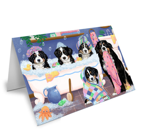 Rub A Dub Dogs In A Tub Bernese Mountain Dogs Greeting Card GCD74807