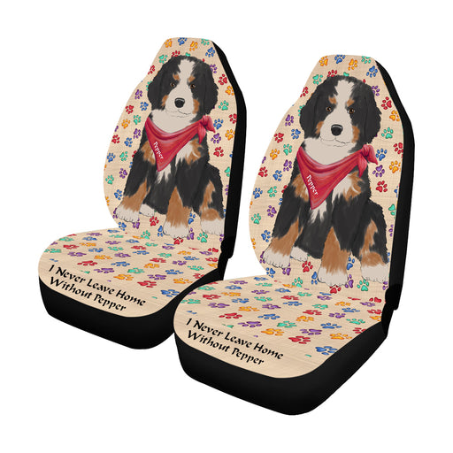 Personalized I Never Leave Home Paw Print Bernese Mountain Dogs Pet Front Car Seat Cover (Set of 2)