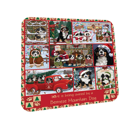 Love is Being Owned Christmas Bernese Mountain Dogs Coasters Set of 4 CST57158