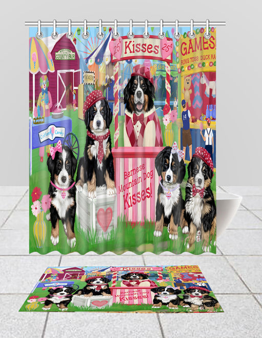Carnival Kissing Booth Bernese Mountain Dogs  Bath Mat and Shower Curtain Combo