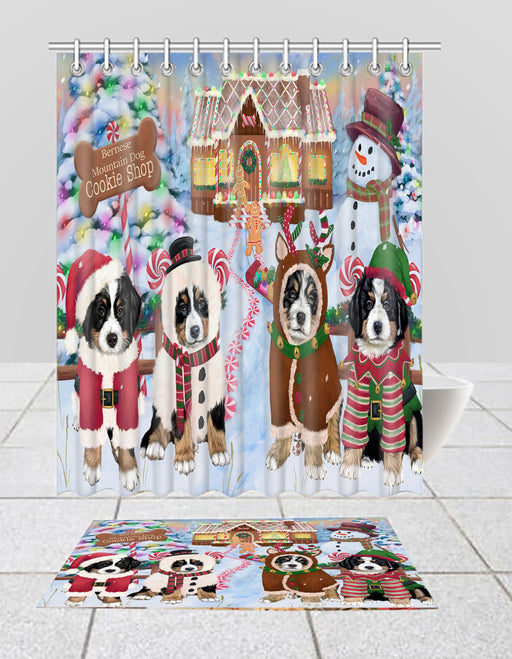 Holiday Gingerbread Cookie Bernese Mountain Dogs  Bath Mat and Shower Curtain Combo