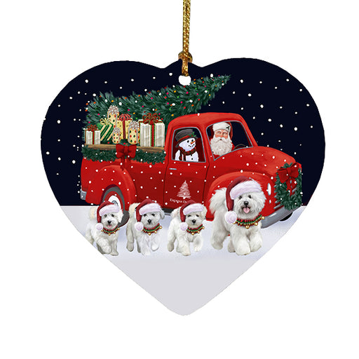Christmas Express Delivery Red Truck Running Bichon Frise Dogs Heart Christmas Ornament RFPOR58070