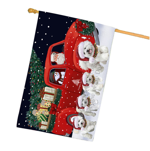 Christmas Express Delivery Red Truck Running Bichon Frise Dogs House Flag FLG66499