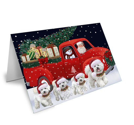 Christmas Express Delivery Red Truck Running Bichon Frise Dogs Greeting Card GCD75071