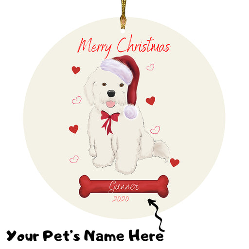 Personalized Merry Christmas  Bichon Frise Dog Christmas Tree Round Flat Ornament RBPOR58917