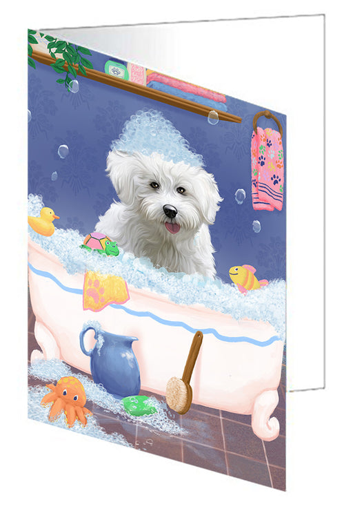 Rub A Dub Dog In A Tub Bichon Frise Dog Greeting Card GCD79241