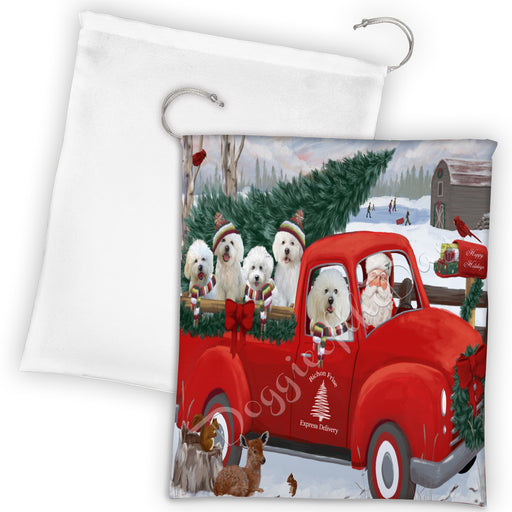 Christmas Santa Express Delivery Red Truck Bichon Frise Dogs Drawstring Laundry or Gift Bag LGB48281
