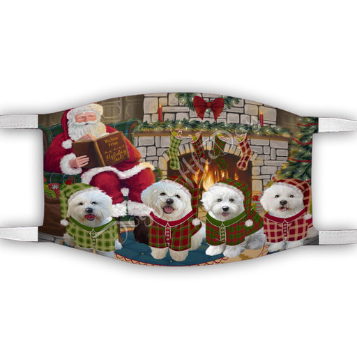 Christmas Cozy Holiday Fire Tails Bichon Frise Dogs Face Mask FM48608