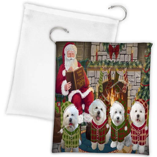 Christmas Cozy Holiday Fire Tails Bichon Frise Dogs Drawstring Laundry or Gift Bag LGB48475