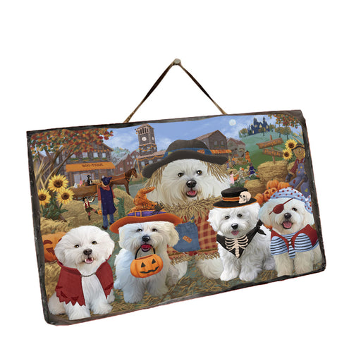 Halloween 'Round Town And Fall Pumpkin Scarecrow Both Bichon Frise Dogs Wall Décor Hanging Photo Slate SLTH53177
