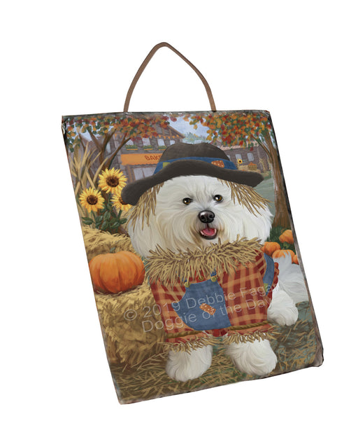 Halloween 'Round Town And Fall Pumpkin Scarecrow Both Bichon Frise Dogs Wall Décor Hanging Photo Slate SLTH53238