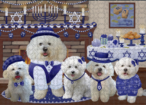 Happy Hanukkah Family and Happy Hanukkah Both Bichon Frise Dogs Puzzle with Photo Tin PUZL96688