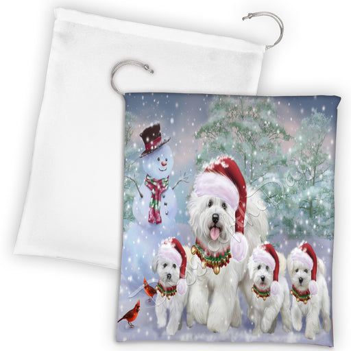 Christmas Running Fammily Bichon Frise Dogs Drawstring Laundry or Gift Bag LGB48204