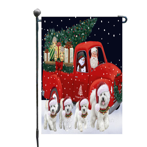 Christmas Express Delivery Red Truck Running Bichon Frise Dogs Garden Flag GFLG66443