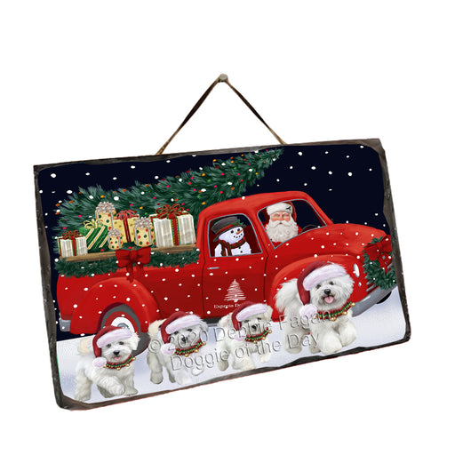 Christmas Express Delivery Red Truck Running Bichon Frise Dogs Wall Décor Hanging Photo Slate SLTH58138