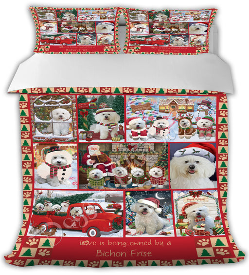 Love is Being Owned Christmas Bichon Frise Dogs Bed Comforter CMFTR48798