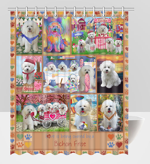 Love is Being Owned Bichon Frise Dog Beige Shower Curtain