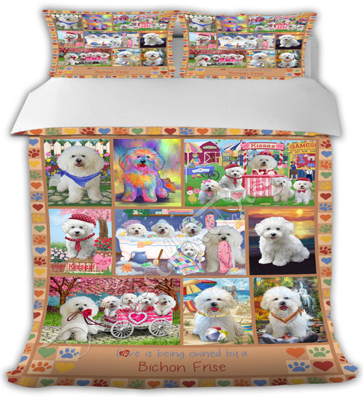 Love is Being Owned Bichon Frise Dogs Beige Bed Comforter CMFTR50674
