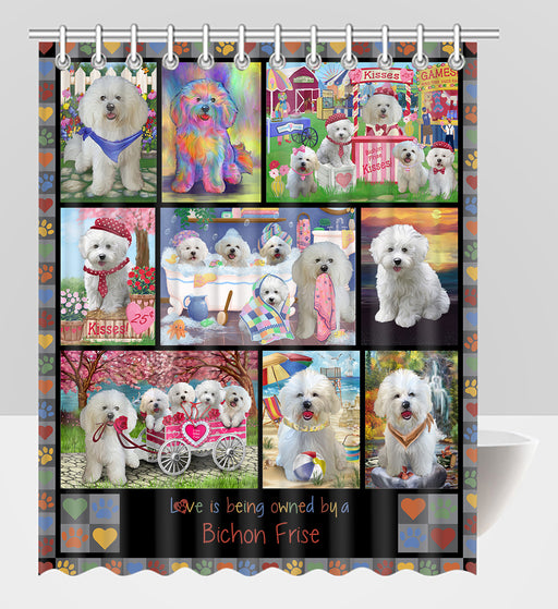 Love is Being Owned Bichon Frise Dog Grey Shower Curtain