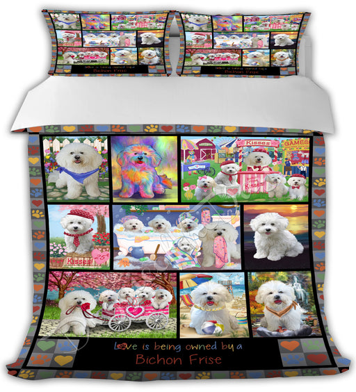 Love is Being Owned Bichon Frise Dogs Grey Bed Comforter CMFTR50163