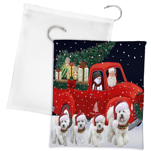 Christmas Express Delivery Red Truck Running Bichon Frise Dogs Drawstring Laundry or Gift Bag LGB48879