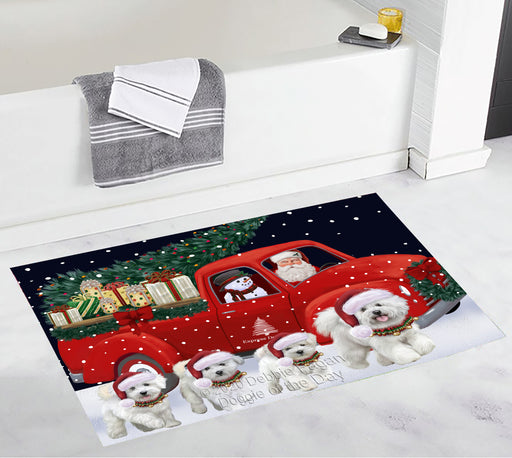 Christmas Express Delivery Red Truck Running Bichon Frise Dogs Bath Mat BRUG53440
