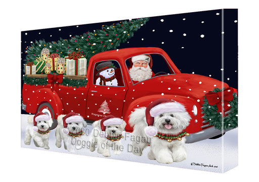 Christmas Express Delivery Red Truck Running Bichon Frise Dogs Canvas Print Wall Art Décor CVS145889