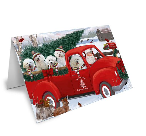 Christmas Santa Express Delivery Bichon Frises Dog Family Note Card NCD68867