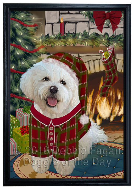 The Stocking was Hung Bichon Frise Dog Framed Canvas Print Wall Art FCVS175653