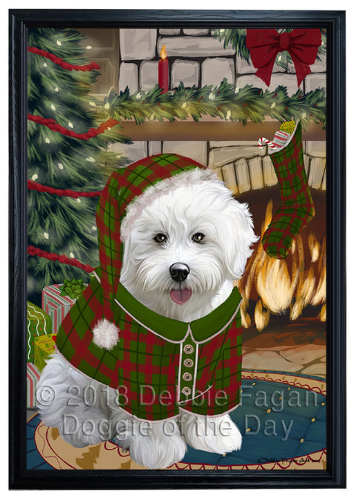 The Stocking was Hung Bichon Frise Dog Framed Canvas Print Wall Art FCVS175670