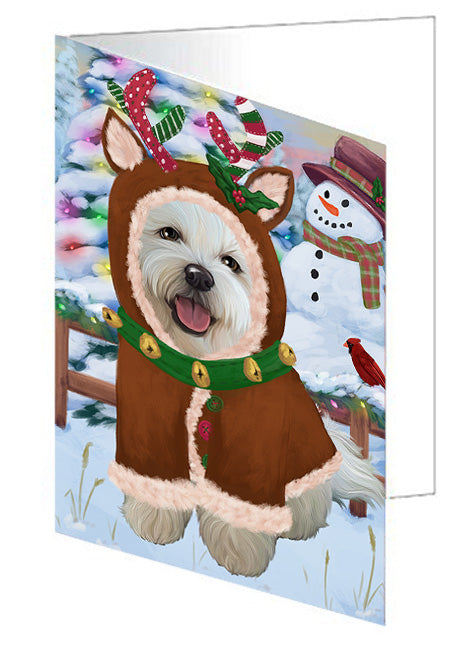 Christmas Gingerbread House Candyfest Bichon Frise Dog Note Card NCD73070