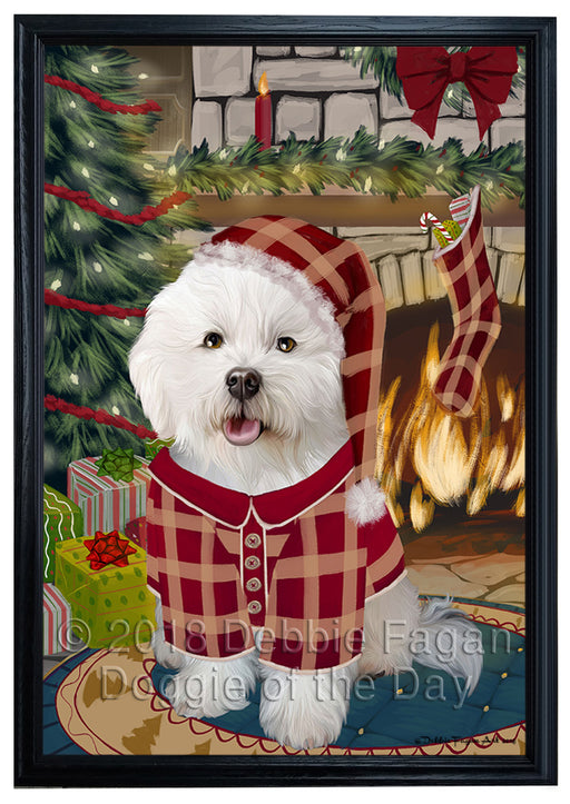 The Stocking was Hung Bichon Frise Dog Framed Canvas Print Wall Art FCVS175687