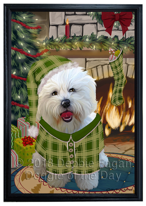 The Stocking was Hung Bichon Frise Dog Framed Canvas Print Wall Art FCVS175704