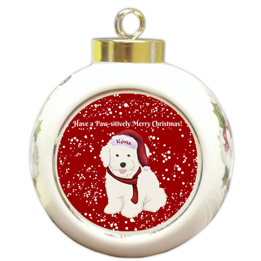 Custom Personalized Pawsitively Bichon Frise Dog Merry Christmas Round Ball Ornament