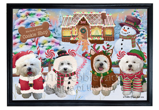 Holiday Gingerbread Cookie Shop Bichon Frises Dog Framed Canvas Print Wall Art FCVS190868