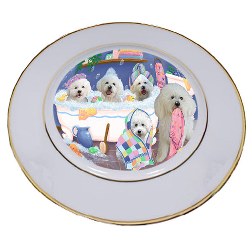 Rub A Dub Dogs In A Tub Bichon Frises Dog Porcelain Plate PLT55114