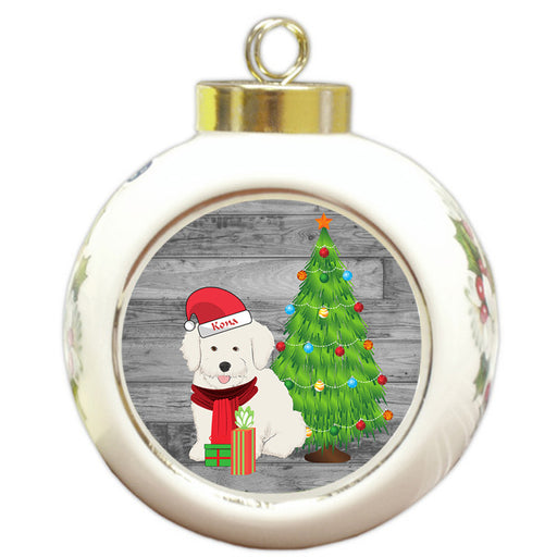 Custom Personalized Bichon Frise Dog With Tree and Presents Christmas Round Ball Ornament
