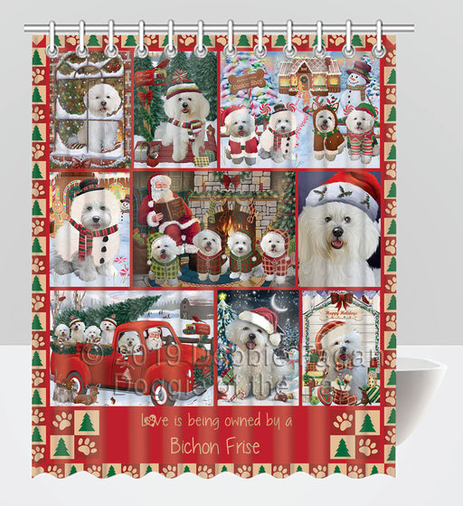 Love is Being Owned Christmas Bichon Frise Dogs Shower Curtain