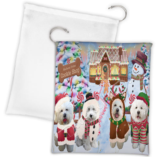 Holiday Gingerbread Cookie Bichon Frise Dogs Shop Drawstring Laundry or Gift Bag LGB48572