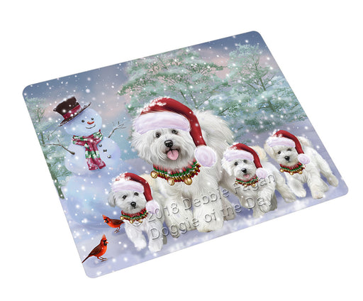Christmas Running Family Bichon Frise Dogs Refrigerator / Dishwasher Magnet RMAG105162