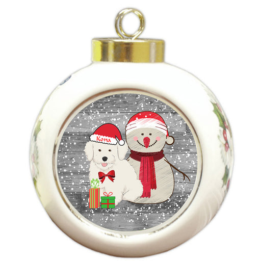 Custom Personalized Snowy Snowman and Bichon Frise Dog Christmas Round Ball Ornament
