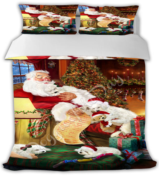 Santa Sleeping with Bichon Frise Dogs Bed Comforter CMFTR49428