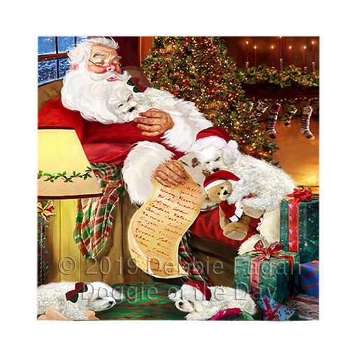 Santa Sleeping with Bichon Frise Dogs Square Towel